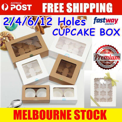AU13.99 • Buy Cupcake Box Range 2 Hole 4 Hole 6 Hole 12 Hole Window Face Cases Party Boxes