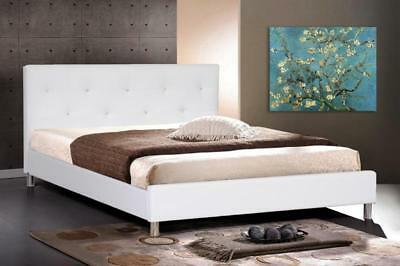 $ CDN672.35 • Buy White Or Black Faux Leather Queen Bed Frame Crystal Button Tufted Modern