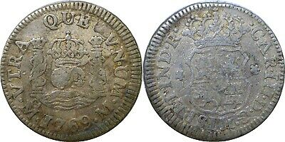 $ CDN98.80 • Buy 1769 M Mexico 1/2 Real Silver Colonial Spain Carlos III Baby Pillar KM #68