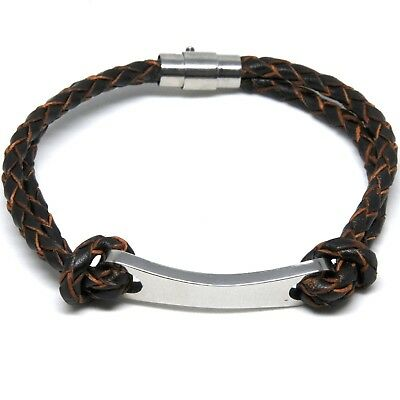 £5.99 • Buy Woven Leather & Stainless Steel ID Bracelet Engravable With Name Black Or Brown