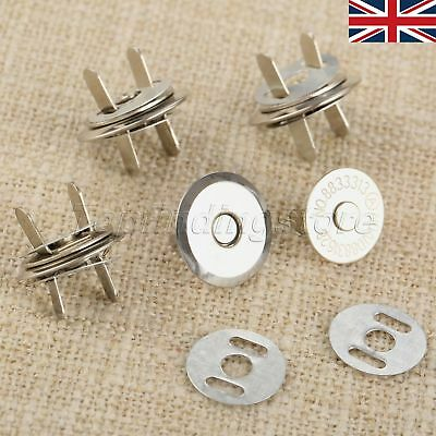 10Set 16mm 18mm Thin Magnetic Buttons Press Snaps Purse Clothes Bag DIY UK STOCK • 5.38£