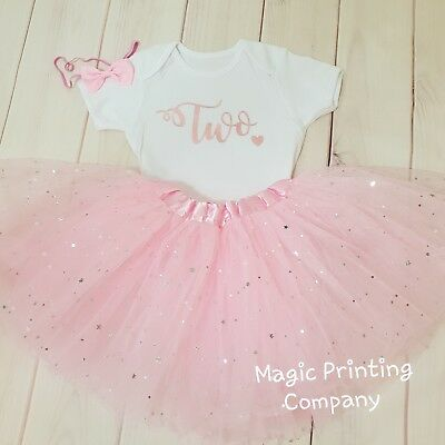 £16.99 • Buy Girls 2nd Birthday Outfit Tutu Rose Gold & Pink Cake Smash TWO Dress Top Vest