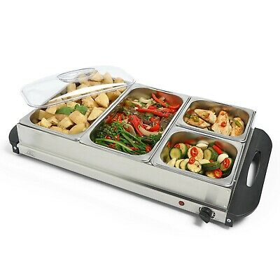 VonShef Food Warmer Buffet Server Hot Plate 3 Tray Adjustable Temperature 300W • 34.99£