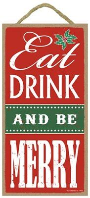 Eat Drink And Be Merry Christmas Sign Home Party Gift 10  X 5  Wood Plaque 204 • 7.23£