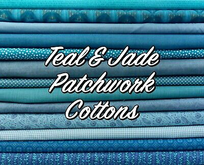 Jade TEAL Mixed Patterned Floral + Themed 100% Cotton Patchwork Fabric • 3.20£