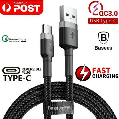 AU8.99 • Buy 0.5M /1M /2M Baseus USB Type C Fast Charging Data Sync Cable Cord