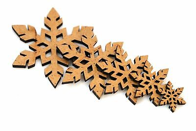 Wooden MDF Snowflakes Shapes Bunting Craft Embellishments Christmas Decoration • 1.39£