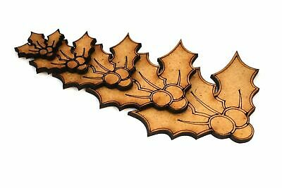 Wooden MDF Holly Shapes Bunting Craft Embellishments Christmas Decoration • 1.10£