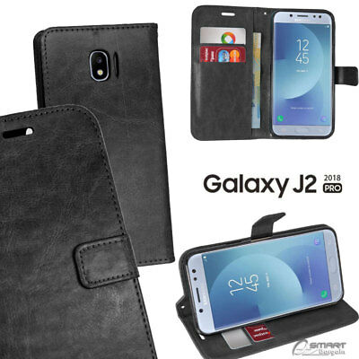 AU6.99 • Buy Black Wallet Flip Card Slot Stand Case Cover For Samsung Galaxy J2 Pro 2018