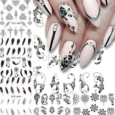 AU7.99 • Buy 6 Sheets Flower Feather Water Decals Nail Art Transfer Stickers