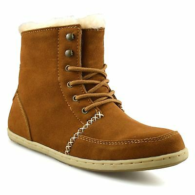Ladies Womens Flat Leather Suede Warm Fur Lined Winter Ankle Boots Shoes Size • 14.98£