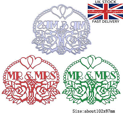 Mr & Mrs Plaque Label Heart Flowers Metal Cutting Die Cutter UK Fast Posting  • 5.99£