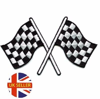 £2.69 • Buy Chequered Flag Racing Embroidered Logo Patch Badge Iron On / Sew On Fancy Dress