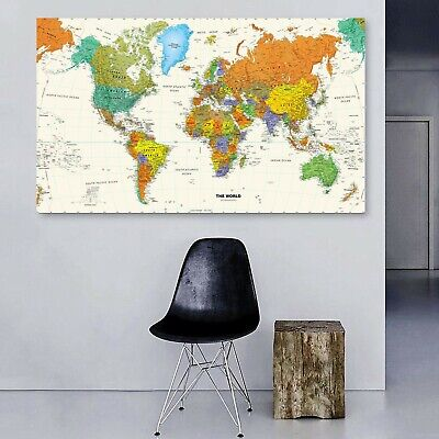AU42.50 • Buy Vintage World Map Stretched Framed Canvas Prints Wall Art Home Office Decor
