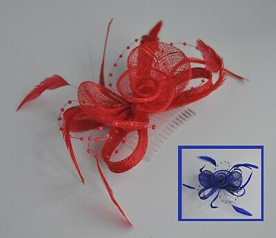 Royal Blue Or Bright Red Sinamay Feather Rose Wedding/races Fascinator Hair Comb • 14.95£