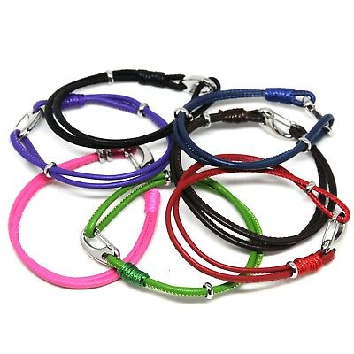 Leather Lambskin Double Wrap Bracelet With Lobster Clasp In 7 Colours • 4.99£