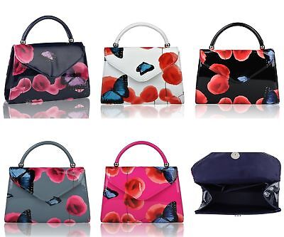 £13.99 • Buy New Ladies Women's  Patent Leather Poppy Flower Butterfly Print Clutch Bag Bag