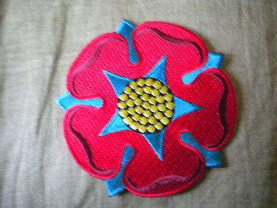 LANCASHIRE RED ROSE 75mm EMBROIDERED BADGE • 4£