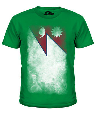 Nepal Faded Flag Kids T-shirt Tee Top Nep?la Nepali Nepalese Shirt Football • 16£