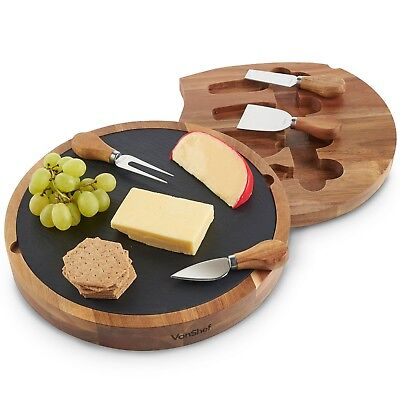 £24.99 • Buy VonShef Wooded Cheese Board Set Specialist Knives Slide Out Serving Platter