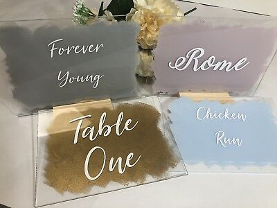$11.81 • Buy Painted Clear Acrylic A5 Wedding Table Number / Name With Wooden Stand