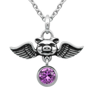 Birthstone Pig Necklace Pigs Can Fly With Swarovski Crystal By Controse • 14.44£