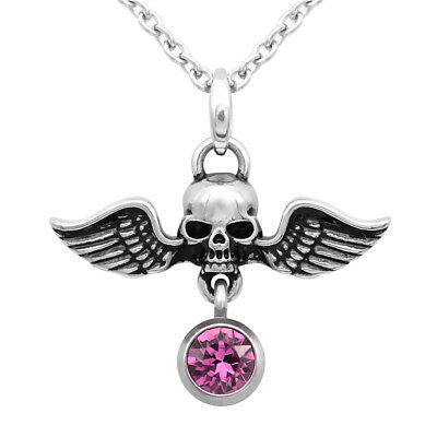 Birthstone Winged Warrior Skull Necklace With Swarovski Crystal By Controse • 14.28£