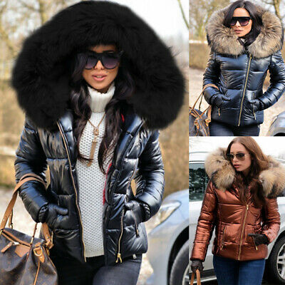 UK Womens Winter Warm Quilted Padded Parka Short Fur Collar Hooded Coat Jacket • 41.95£