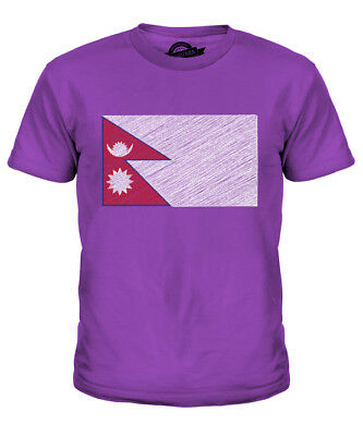 Nepal Scribble Flag Kids T-shirt Tee Top Gift Nep?la Nepalese • 16£