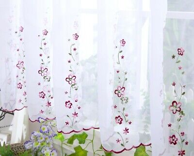 £8.99 • Buy Embroidered ISABELLA Voile Cafe Net Kitchen Curtain 18  33  38  - Sold By Meter