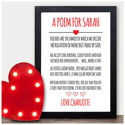 £5.95 • Buy Personalised Best Friends Poem Christmas Birthday Gifts For Friends Sister Her