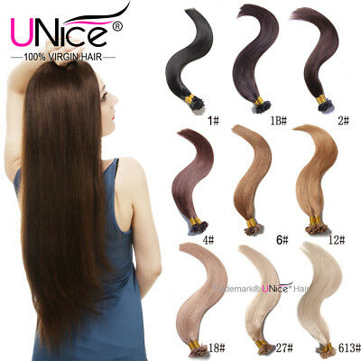 $24.57 • Buy Unice Keratin Fusion Pre Bonded U Tip Nail Remy Human Hair Extensions 100Strands