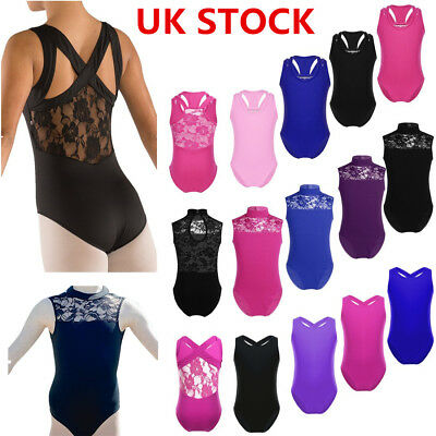 UK Girls Ballet Dance Leotard Gymnastics Sleeveless Lace Back Unitards Dancewear • 5.35£