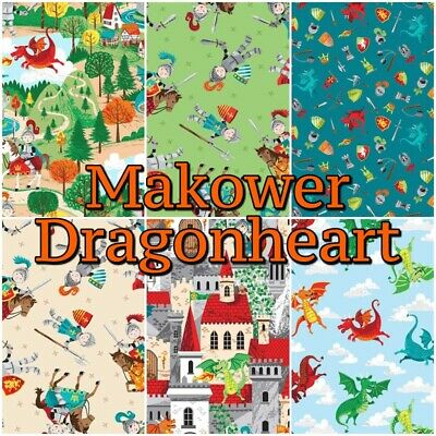 Makower DRAGON HEART Knight Castle Fairytale 100% Cotton Patchwork Craft Fabric • 8.49£