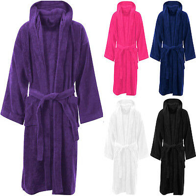 100% Egyptian Cotton Terry Towelling Hooded Bath Robe Unisex Dressing Gown Towel • 13.45£