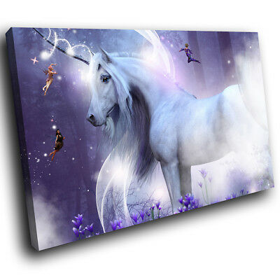 A738 Purple Unicorn Fantasy Funky Animal Canvas Wall Art Large Picture Prints • 9.99£