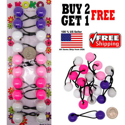 $4.98 • Buy Purple Colors Braid Girl Kids Scrunchie Beads Hair Tie Ball Ponytail Holder Band