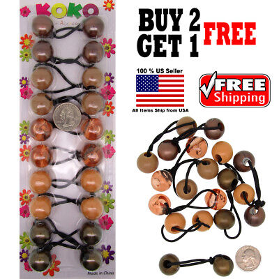 $4.98 • Buy Brown Shades Braid Girl Kids Scrunchie Beads Hair Tie Ball Ponytail Holder Band