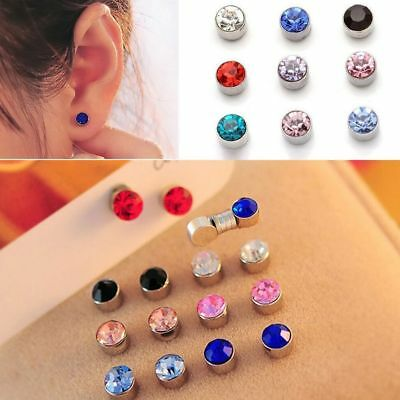 AU4.90 • Buy 2pc Magnetic Crystal Round Earrings Non Piercing Clip On Men Kids Ear Magnet