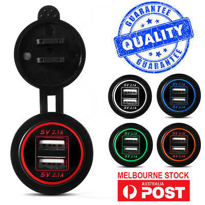 AU15.68 • Buy Dual 2.1A (4.2A) 12V/24V DC USB Charger Power Outlet For Car Motorcycle Boat