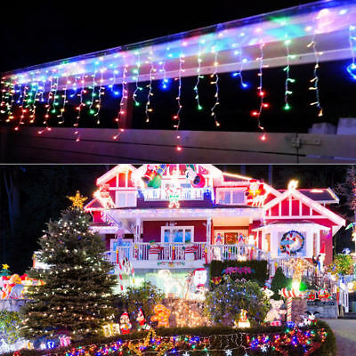 LED Christmas Fairy Icicle Lights Lamps Wedding Party Indoor Outdoor Decoration • 10.44$