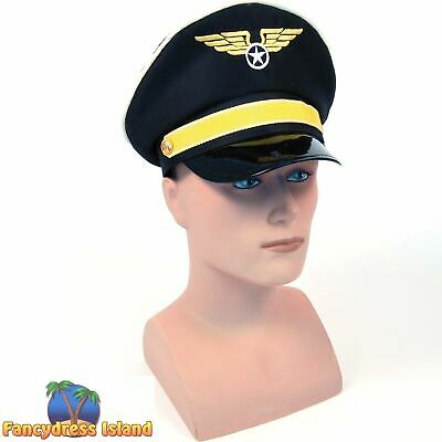 £7.09 • Buy MILITARY ARMY AIRFORCE PILOT CAPTAIN'S HAT Mens Fancy Dress Costume Accessory