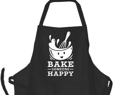 Gifts For Him/ Her Mens Ladies  Black Cooking Apron Bake Someone Happy Design • 13.50£