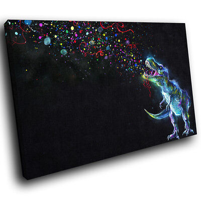 Black Blue Dinosaur Pink Funky Animal Canvas Wall Art Large Picture Prints • 19.99£