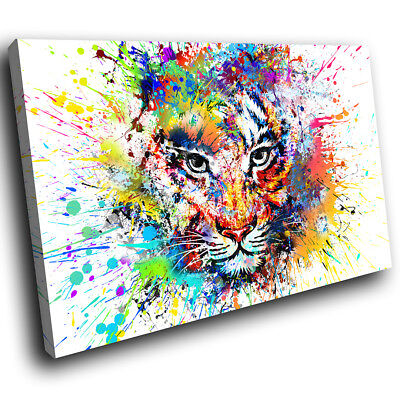 Yellow Red Tiger Abstract Funky Animal Canvas Wall Art Large Picture Prints • 19.99£