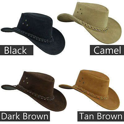 Australian Western Style Cowboy Real Leather Bush Hat With Chin Strap • 17.99£