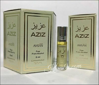 Box Of 6 AZIZ 6ml By Ahsan Special Edition Non Alcohol Roll On Perfume Oil Attar • 21.99£