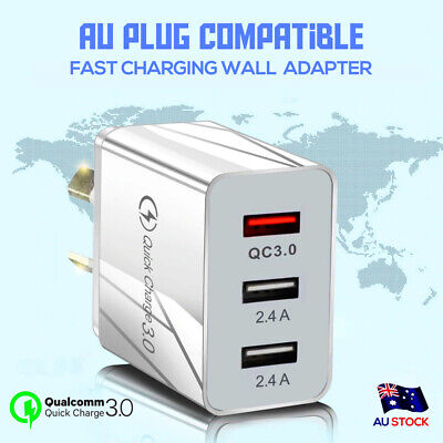 AU17.99 • Buy QC3.0 25W 3 USB Ports AC Plug Wall Charger Fast Charging AU Plug Power Adapter