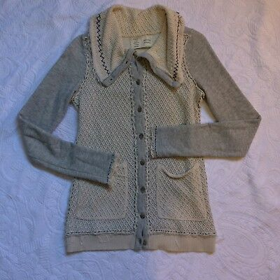 $ CDN35 • Buy Women's Saturday Sunday Cardigan Sweater SMALL Gray Beige Cotton Anthropologie