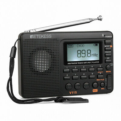 Retekess Portable AM/FM/SW Radio Rechargeable LCD Backlight MP3 Player Recording • 17.99£